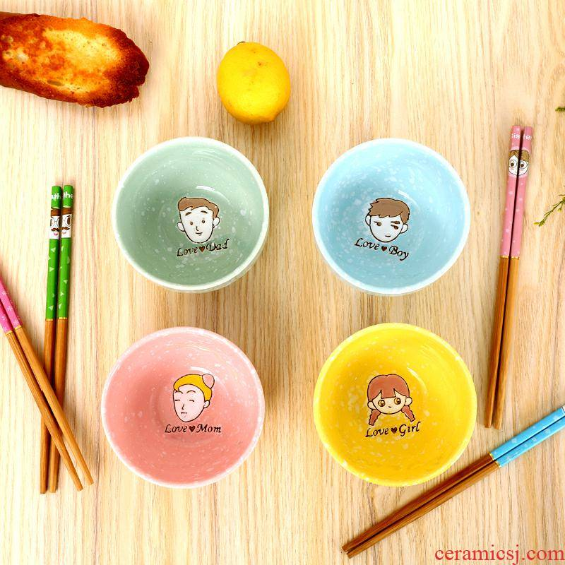 Cartoon gift parent - child family 4 teaspoons of children tableware put chopsticks sets a lovely gift box