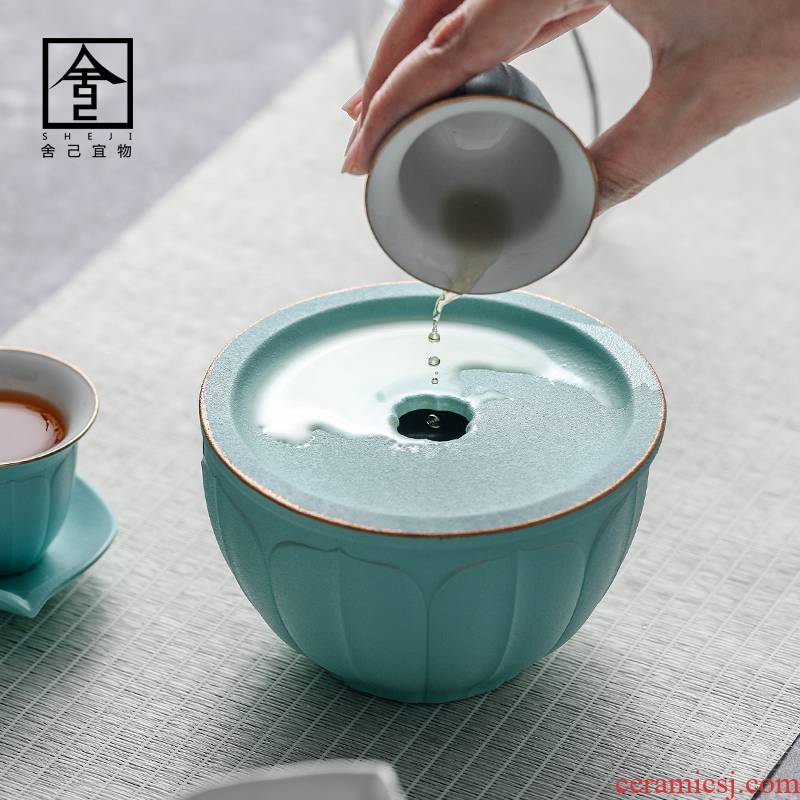 "The Self - ""appropriate content large tea wash to ceramic building hot water coarse pottery meng pen paint pure color wash bucket cup tea accessories"