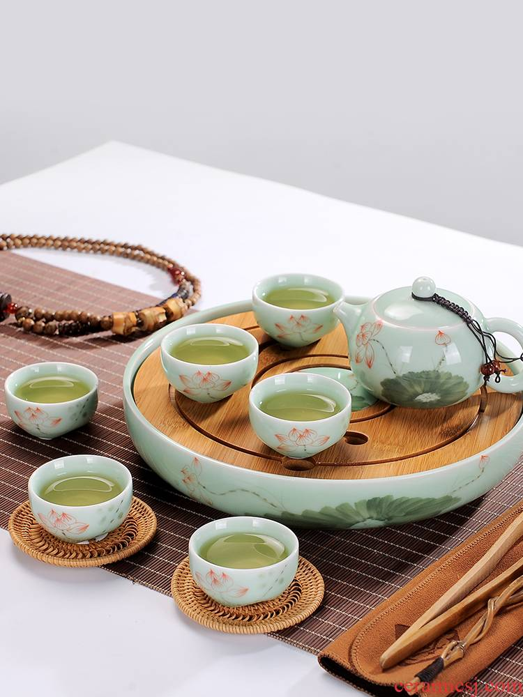 Household travel tea set, tea set jingdezhen ceramic teapot teacup consolidation set of kung fu