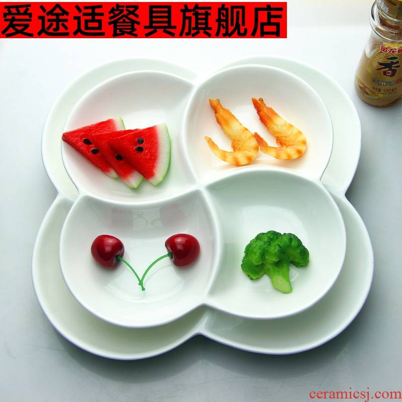 Pure white ceramic plate mail, four lattice frame plate plate Korean salad FanPan platter