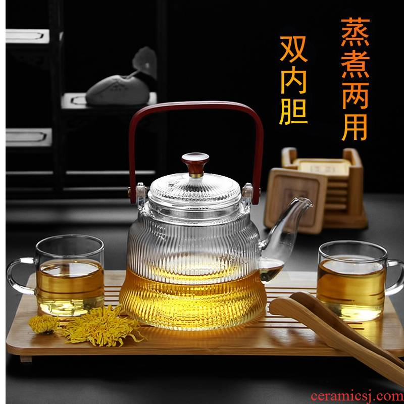 Royal pure boiling tea steaming pot electricity TaoLu household heat - resistant glass tea bamboo girder pot of tea, a pot of two bravery