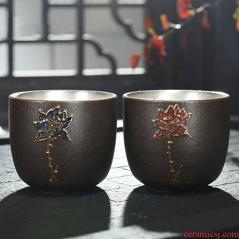 Checking out silver restoring ancient ways is kung fu tea set ceramic cup bowl master cup tea tasted silver gilding variable, individual cup