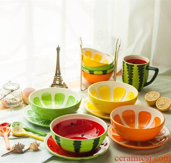 Jingdezhen cartoon creative lovely fruit watermelon salad rice bowls bowl dessert plates teaspoons of ceramic tableware suit