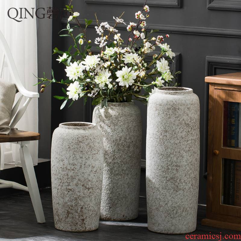 Jingdezhen ceramic flower arrangement sitting room porch place hotel landing large vases, I and contracted coarse pottery by hand