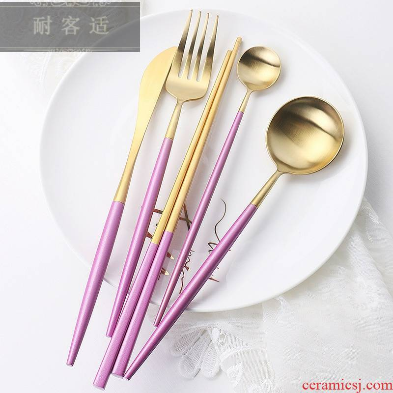 Hold to guest comfortable web celebrity with Annie mei red gold western - style stainless steel tableware 304 knife and fork spoon suit western - style food gift box