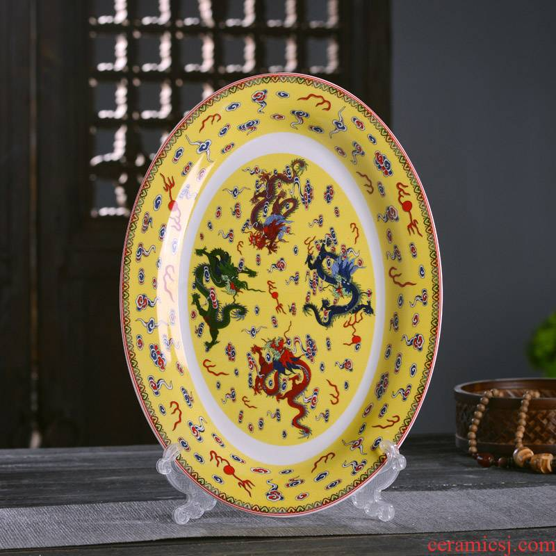 Big fish plate of Chinese style household ipads porcelain of jingdezhen ceramics oval steamed fish dish imitation GuLongWen plate plate