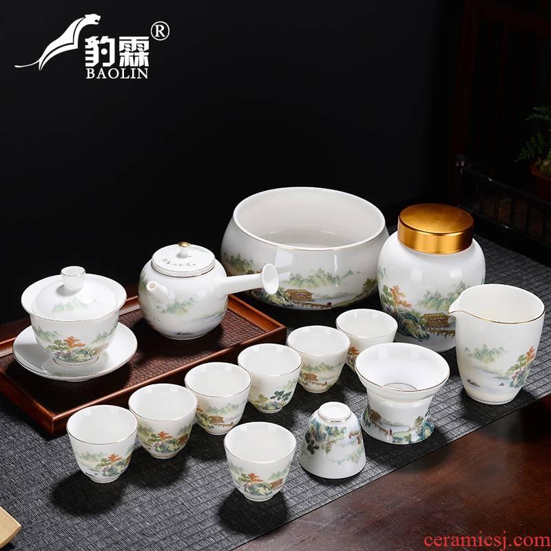 Leopard lam suet jade white porcelain tea set of the pot of tea tureen side sea) checking household gifts tea set