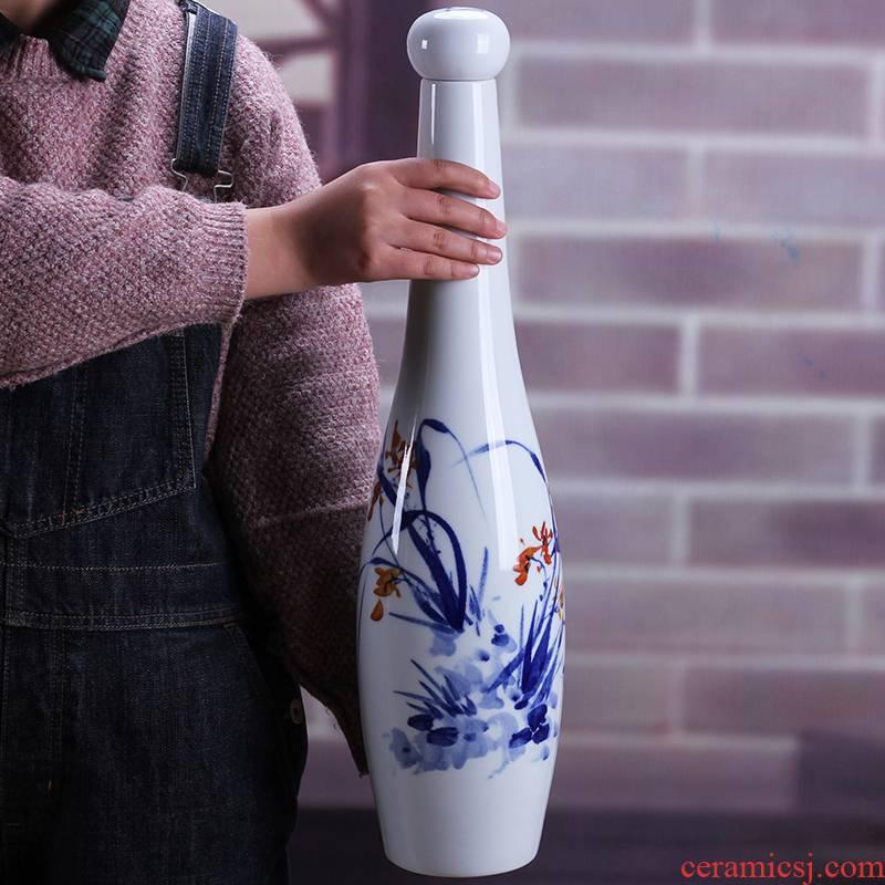 Jingdezhen porcelain 5 jins of hand - made of ceramic terms bottle 5 jins of jars hip flask with long youligong bottle