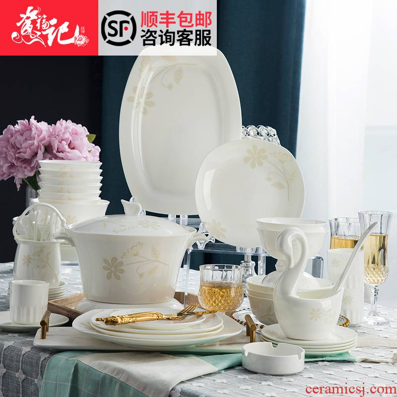 Ikea to Dishes Dishes suit household contracted jingdezhen square tableware tableware suit Chinese style of eating food gift box