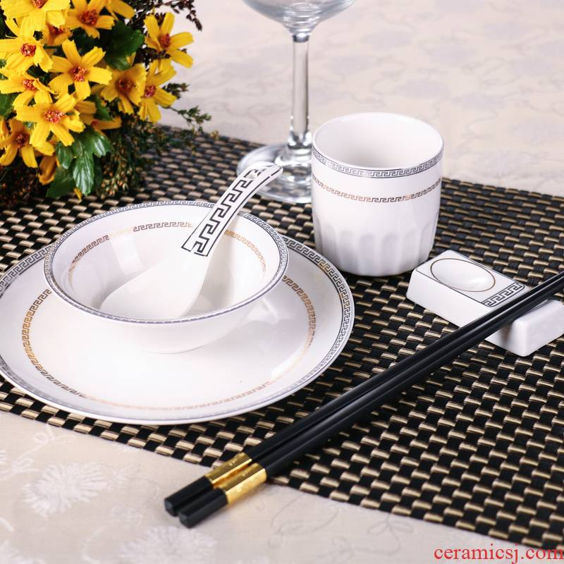 Ceramic tableware set hotel hotel 4 times table five hotel restaurant tableware three - piece dish bowl spoon ipads plate