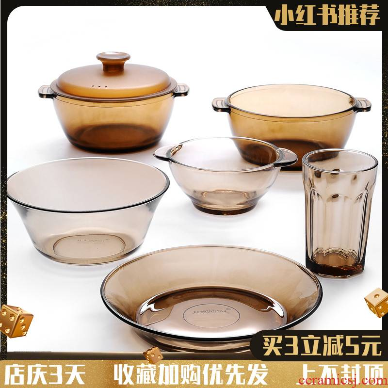 Bo view limited hit northern tempered solar glass tableware suit household creative fruit salad bowls of rice
