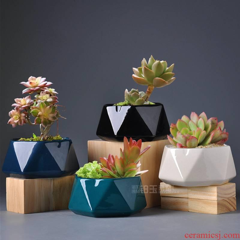 Platinum jade fleshy flowerpot geometric polygon small flower POTS of creative move Nordic ins flesh pottery pot the plants