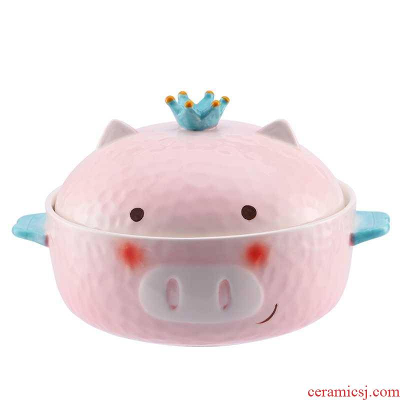 Ceramic pig mercifully rainbow such as bowl with lovely girl heart with cover student dormitory nice bowl chopsticks tableware suit in use