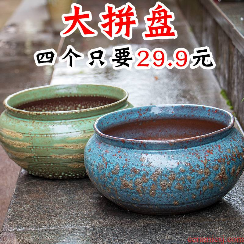 Extra large fleshy plant pot coarse pottery flowerpot is much meat on sale stout old running other platter ceramic flower pot
