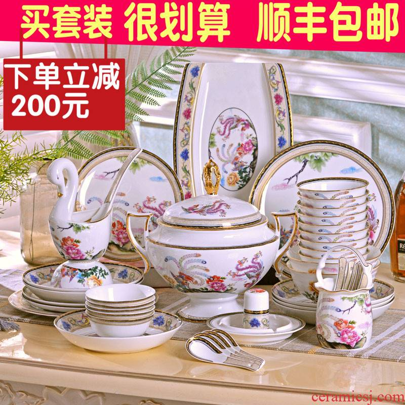 Jingdezhen ceramic bowl dish dish teaspoons of cutlery sets high - class European - style household ipads porcelain rice bowl dish dish gift porcelain