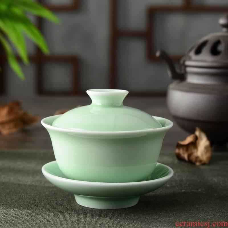 Back at tureen ceramic cups large single three white porcelain kung fu tea tea bowl violet arenaceous longquan celadon