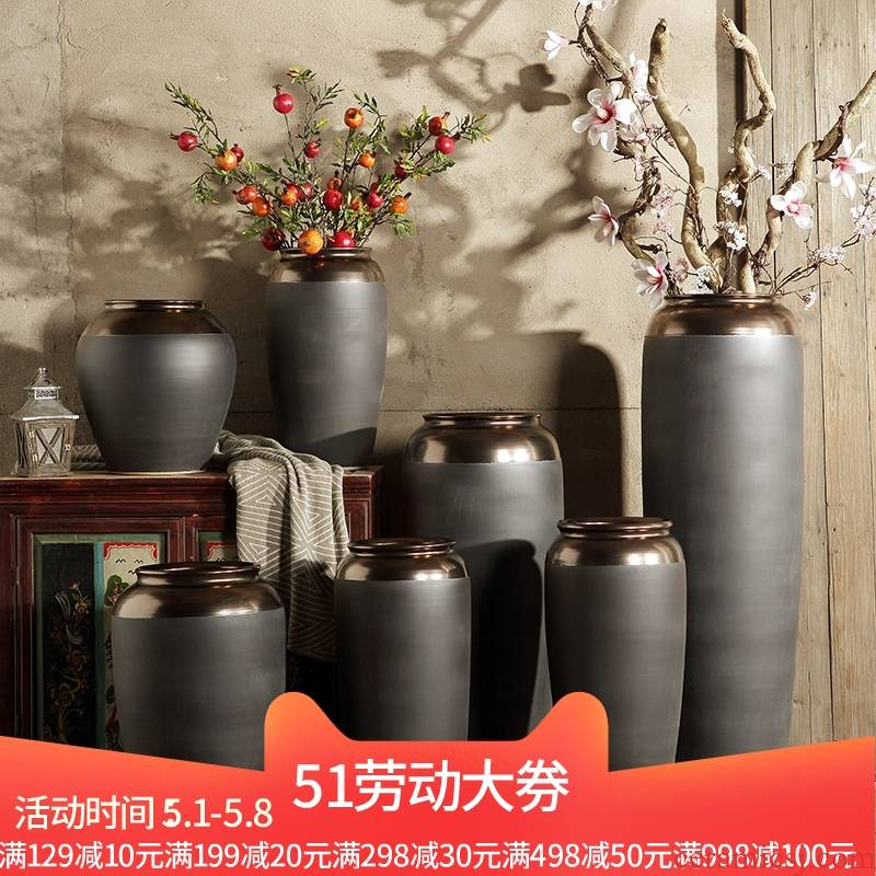 Jingdezhen ceramic I and contracted sitting room porch ground vase large light to heavy key-2 luxury high dry flower arranging flowers is placed