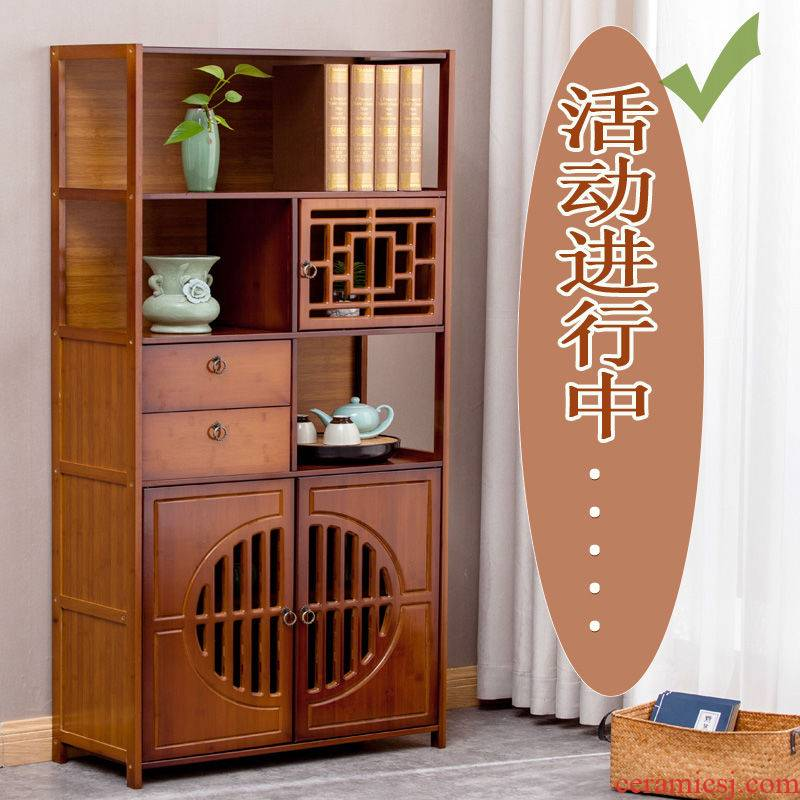 Eat edge store content ark, high retro nanzhu multi - functional kitchen shelf porch ark restaurant receive solid wood tea tank