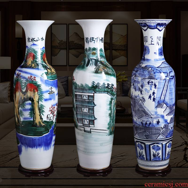 Jingdezhen ceramic vase large landing hand - made porcelain porcelain of modern Chinese style home sitting room adornment is placed