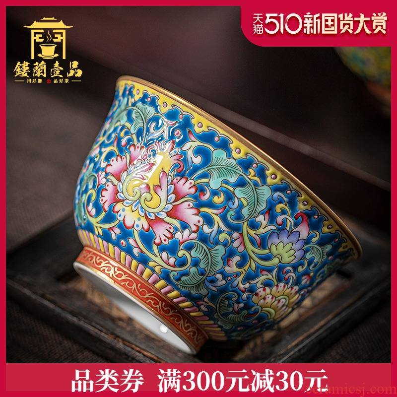 Jingdezhen ceramic powder enamel manually bound within the lotus flower blue pressure hand a cup of tea cup kung fu tea master single CPU
