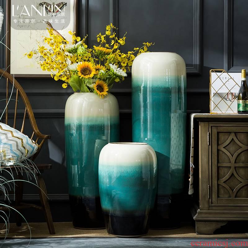 Jingdezhen ceramic vase large landing craft European contracted sitting room porch place flower arranging hotel big vase