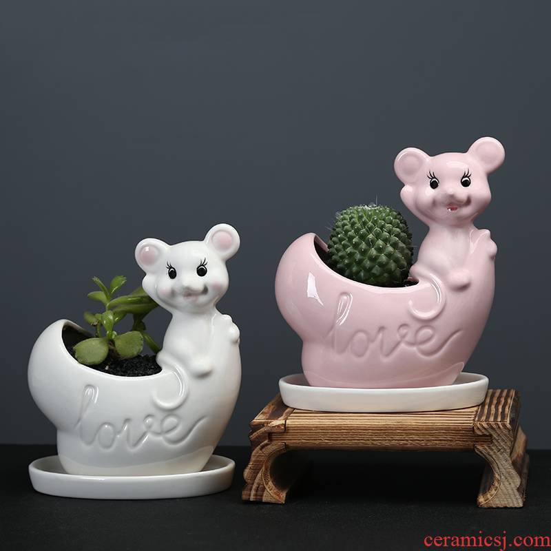 Cartoon mouse fleshy flowerpot ceramic creative move indoor the plants celestial being potted small white flowers