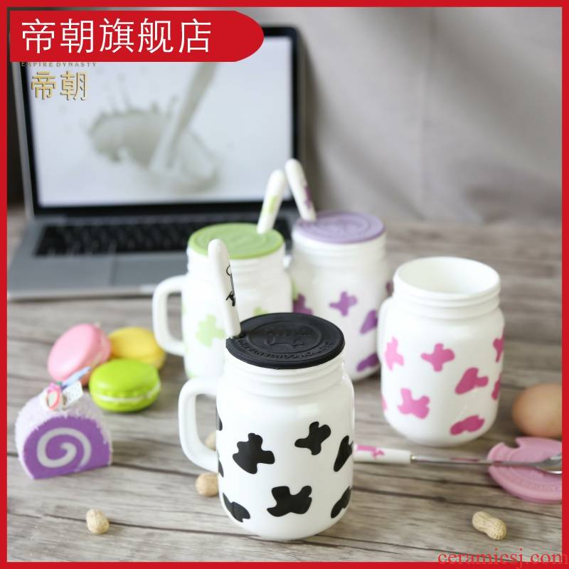 Emperor dynasty ceramic cup couples to cup express ideas with cover the spoon, milk coffee cups of water glass creative move