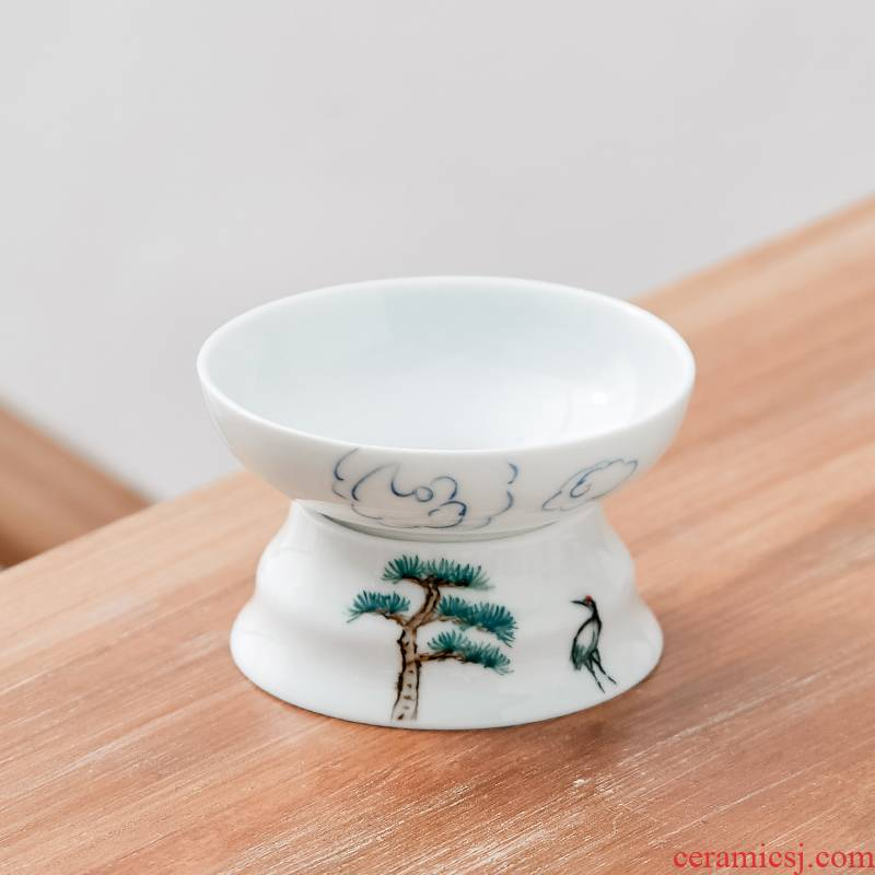 The high time white porcelain hand - made) exchanger with The ceramics filter) tea strainer tea set of The filter in hot insulation