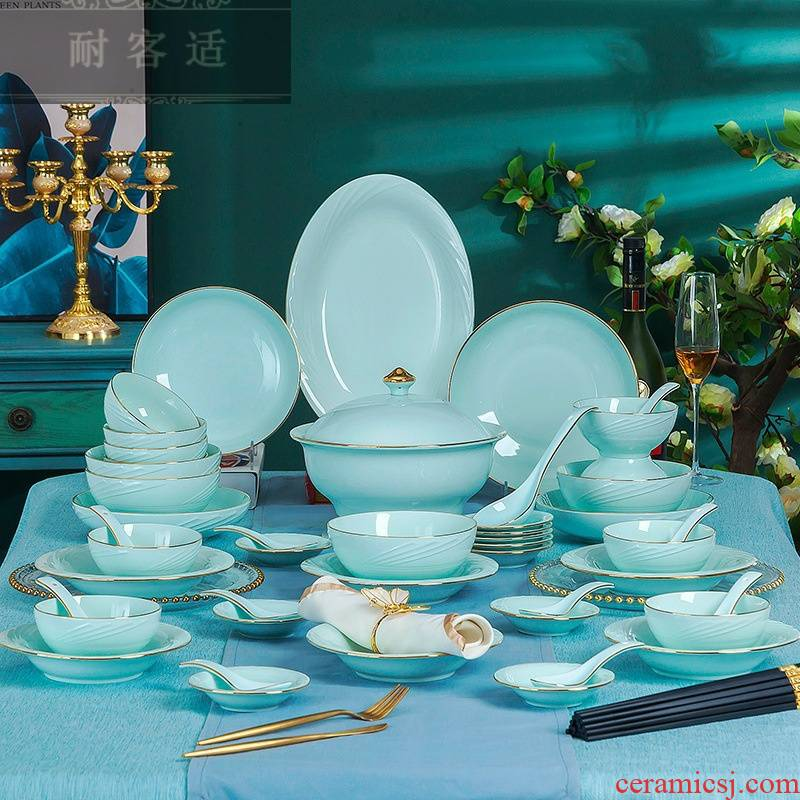 Guest comfortable shadow to hold the qing jingdezhen ceramic tableware tableware suit high - grade gold bowls plates
