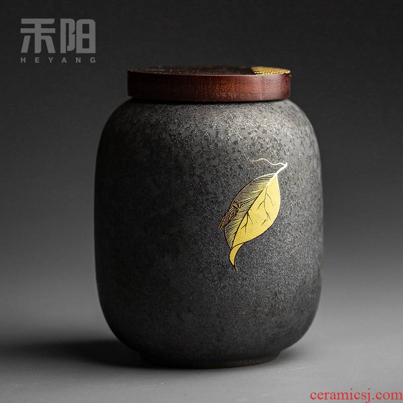 Send Yang vintage silver spot glaze ceramic seal caddy fixings size storage tanks of household receives moistureproof tea warehouse