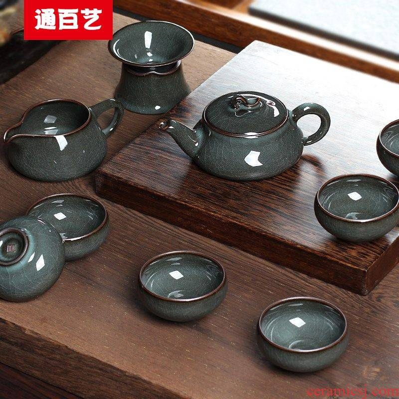Tong baiyi high - grade kung fu tea set manually elder brother up tire iron of a complete set of ice to crack the teapot teacup suit household ceramics