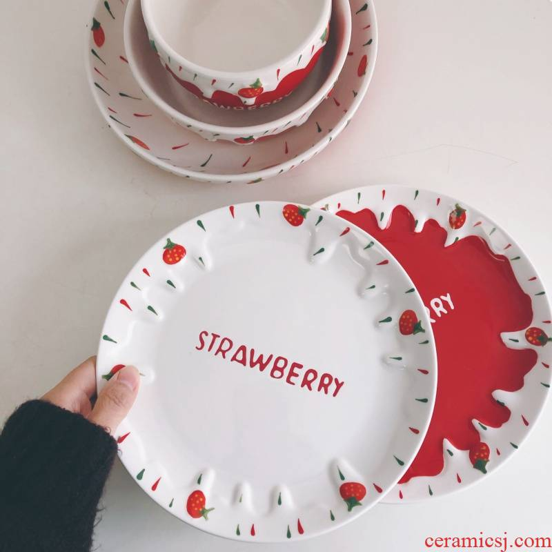 Strawberry ceramic disc ins wind lovely hand - made breakfast tray Strawberry fruit bowl bowl of milk cup sweet afternoon tea