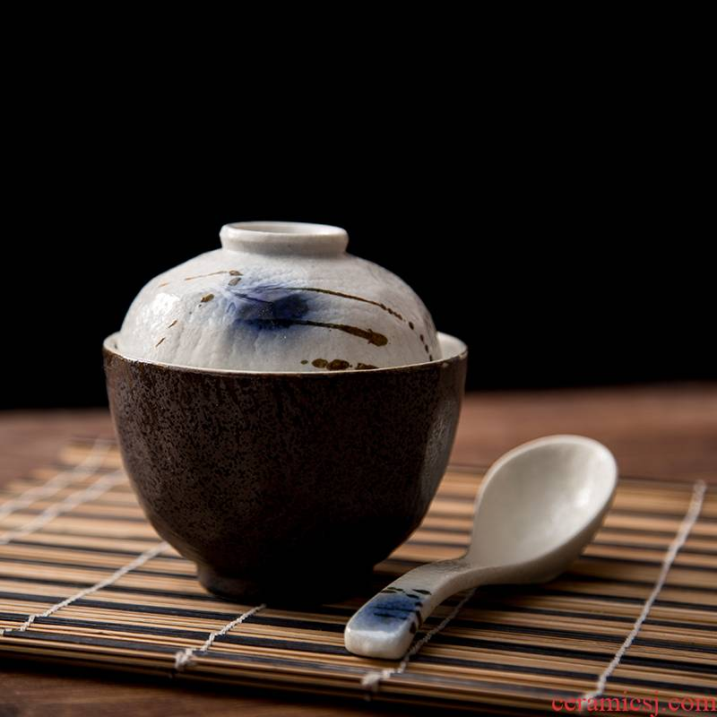 Painting means Japanese ceramics tableware red flow egg cup blues hook rattan steamed steaming bowl with tureen soup bowl laying hens custard with a spoon