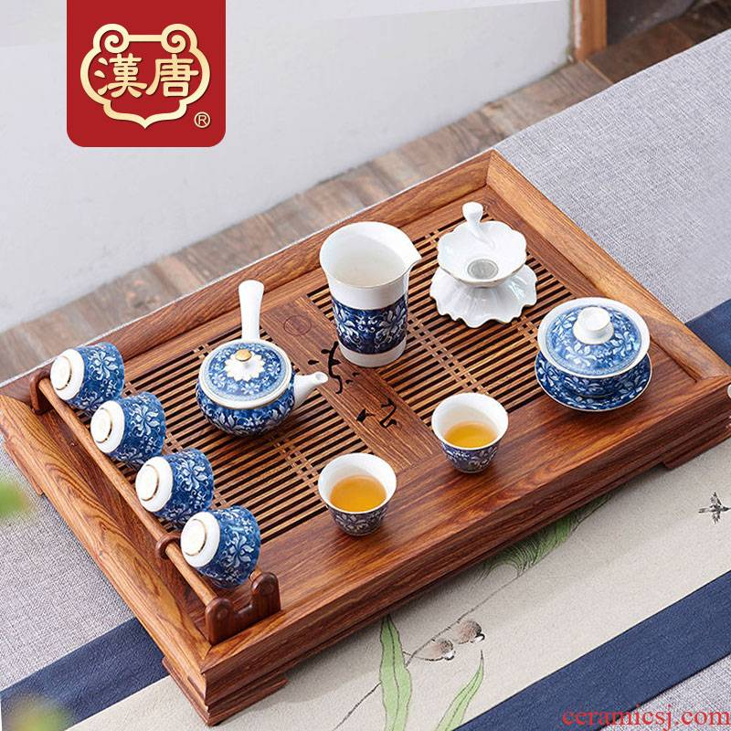 Han and tang dynasties tea tray was solid wood home hua limu tea sets tea saucer the draw - out type drainage water tray was kung fu tea set