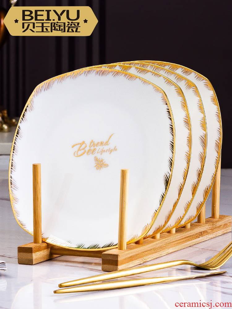 BeiYu bee ou son ipads porcelain dish plate combination suit household steak dinner plate creative ceramic plate