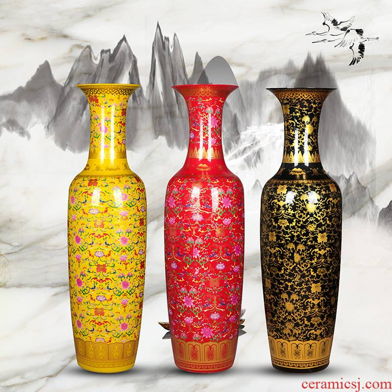 Jingdezhen ceramic Chinese style of large vases, Chinese red sitting room adornment porcelain hotel villa furnishing articles