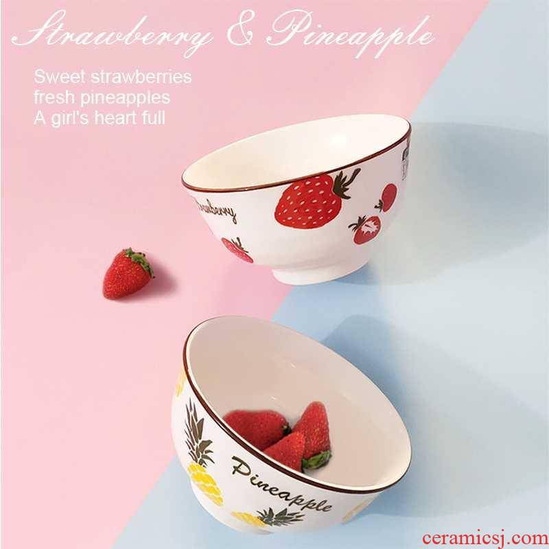 Creative ceramic rice bowl individual household character eat dishes, lovely girl heart suit web celebrity strawberry tableware