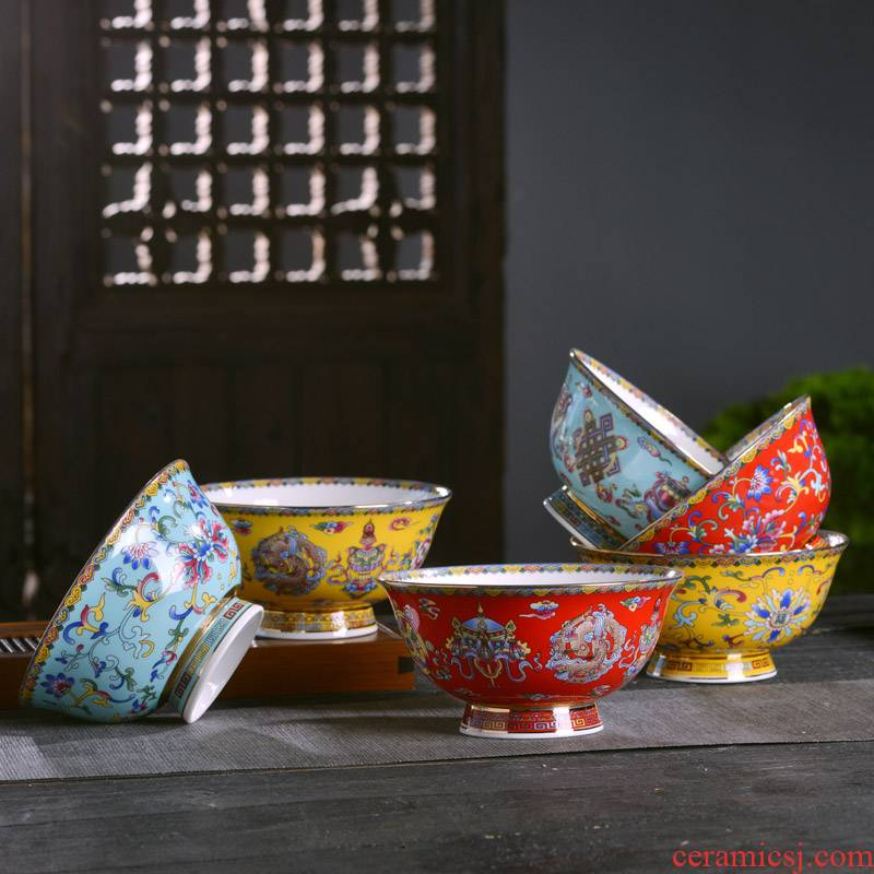 Jingdezhen ceramic bowl palace Chinese style household ipads porcelain enameled bowl of rice porridge big ramen archaize tall bowl of soup