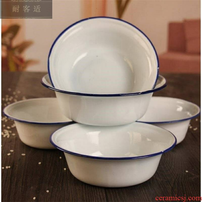Thickening of pure white enamel bowls 80 old tinplate bowl of soup basin 18.20 cm ancient enamel the sink bowl