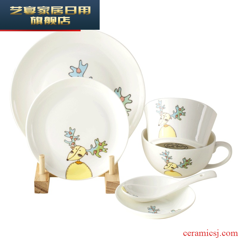 Cartoon cutlery set dishes with jingdezhen ceramic bowls of one food tableware ipads plate, lovely dish bowl
