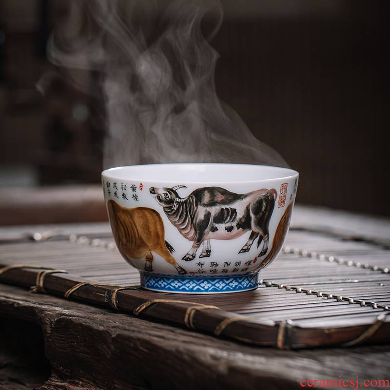 Owl up jingdezhen tea master cup single cup tea five NiuTu archaize of hand - made of ceramic famille rose