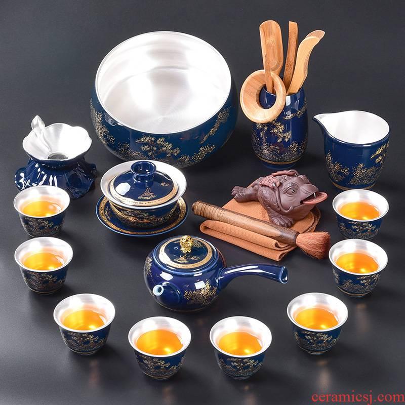 Tao blessing ceramic tasted silver ji blue tea set household silver gilding kung fu tea teapot teacup group