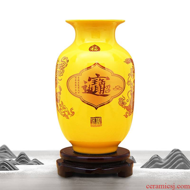 Jingdezhen ceramics vase China red paint decoration vase wedding open birthday gift decoration