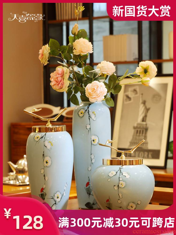 Modern new Chinese style home decoration ceramic vase restoring ancient ways is the sitting room porch place the dried flower arrangement table porcelain
