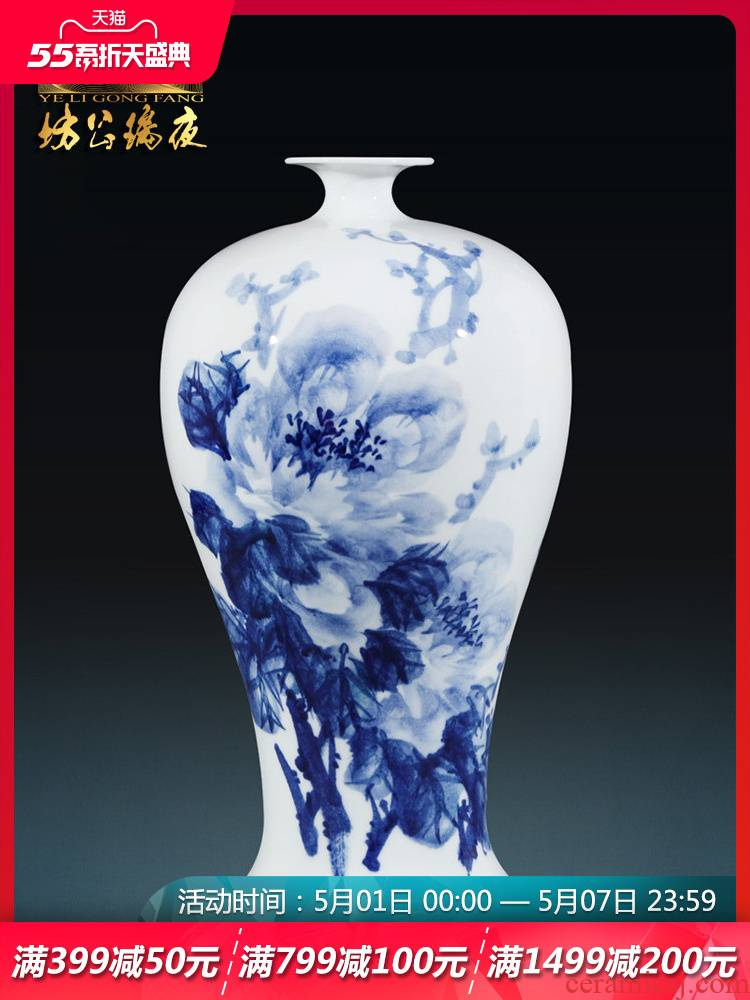 Jingdezhen ceramics hand - made vase peony mei bottles of antique Chinese blue and white porcelain is a sitting room adornment flower arranging furnishing articles