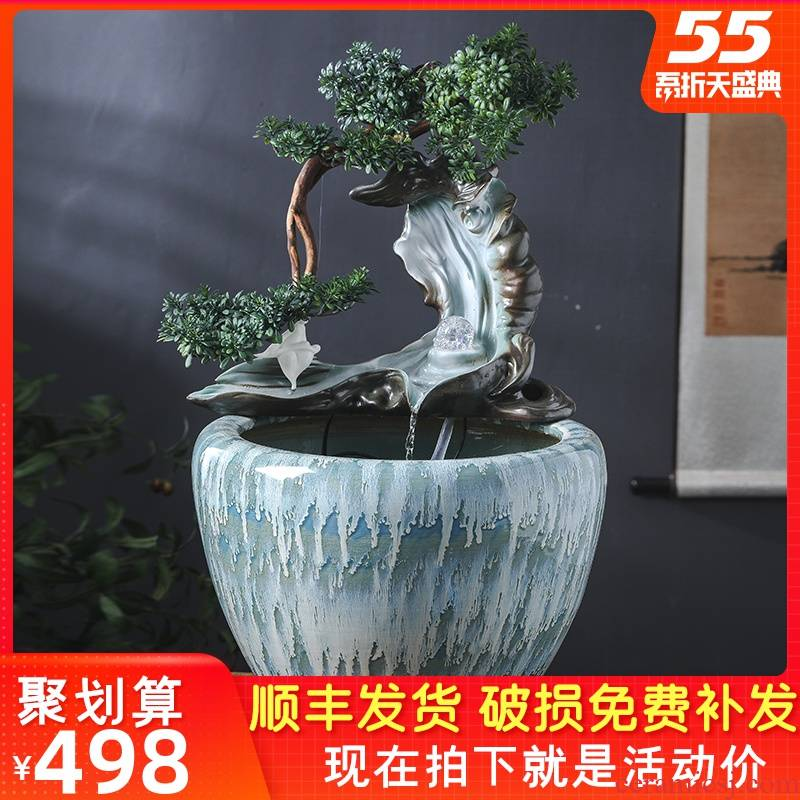 Ceramic aquarium sitting room humidifier furnishing articles lucky gifts and household water basin circulation water fountain in the goldfish bowl