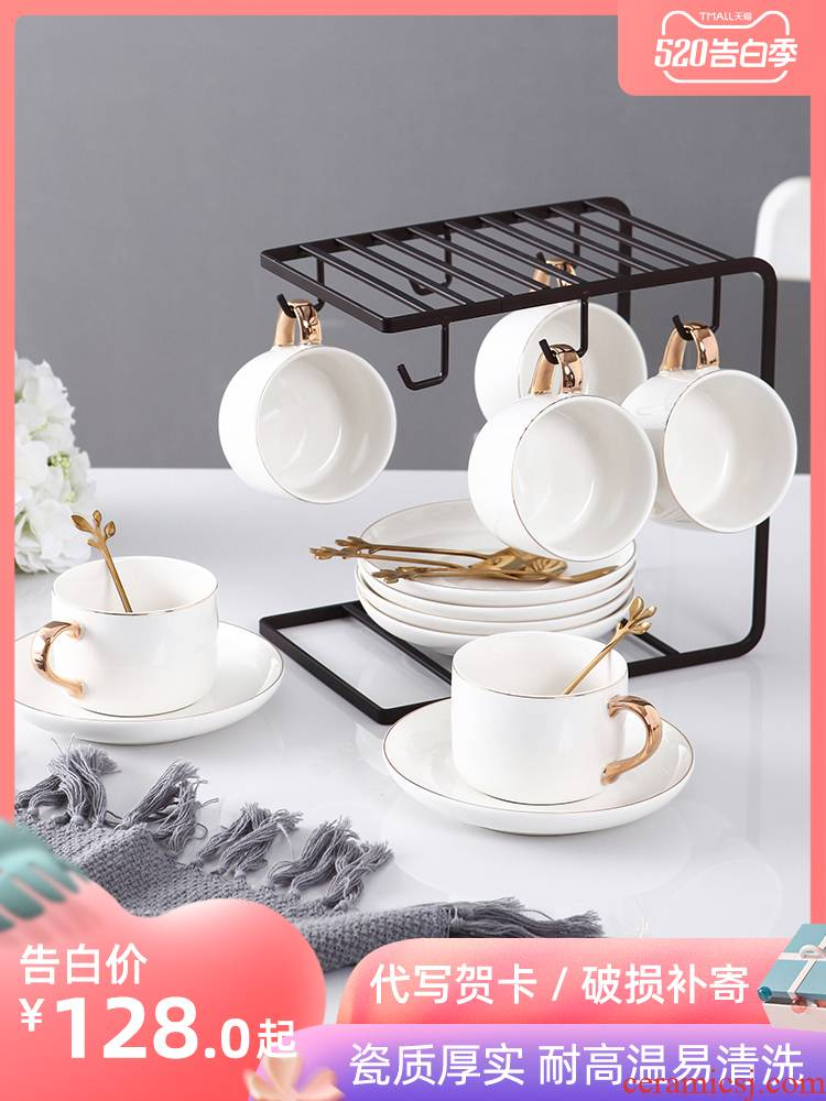 Contracted see colour coffee cup suit small European - style key-2 luxury afternoon tea tea set Nordic home 6 piece with beverage holder, 4