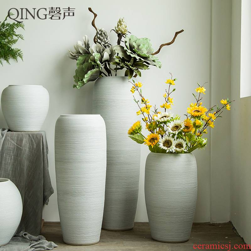 Jingdezhen ceramic vase of large sitting room dry flower arranging flowers furnishing articles contracted and I white clay flowerpots by hand