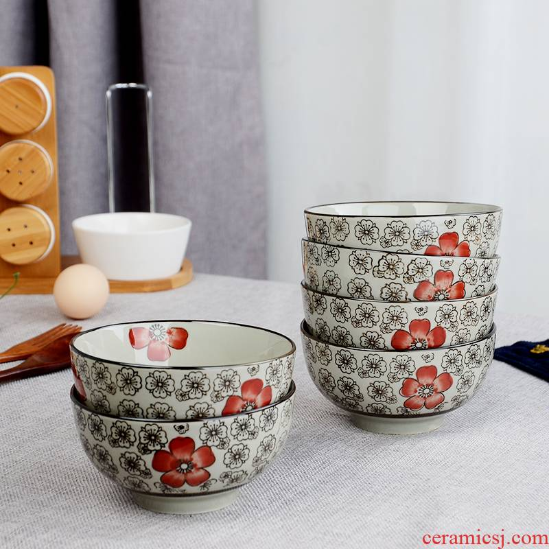 5 inches Six pack Japanese who ceramic rice bowl ankle more home to eat meal hot under the glaze color tableware