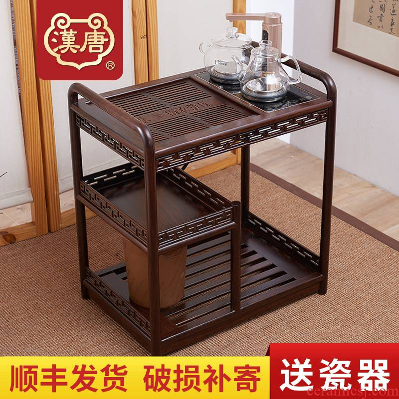 Han and tang dynasties tea tank solid wood mobile four unity kung fu tea, tea sets, black rosewood tea sets tea tray was tea